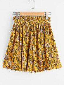 Ditsy Print Drawstring Shirred Waist Pleated Shorts
