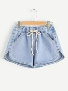 Drawstring Waist Dolphin Hem Denim Shorts