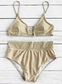 Bikini Set mit Leiterschnitt vorne und hoher Taille
