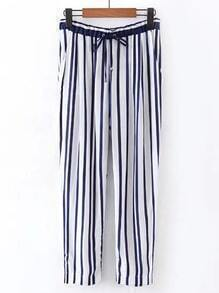 Drawstring Waist Vertical Striped Pants