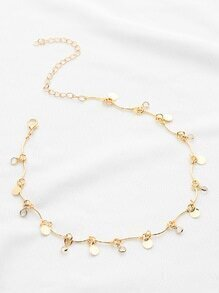 Crystal And Sequin Detail Chain Choker