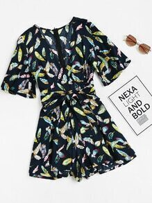 Feather Print Surplice Wrap Pleated Wide Leg Playsuit