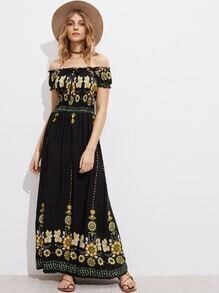 Bardot Floral Print Drawstring Front Shirred Long Dress