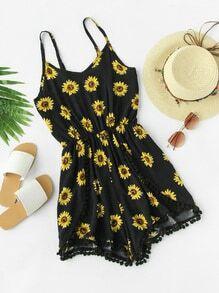 Sunflower Print Pom Pom Trim Cami Romper