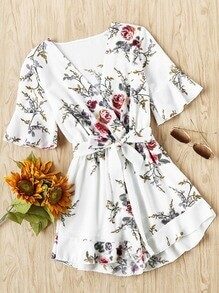Floral Print Random Wrap Front Romper With Belt