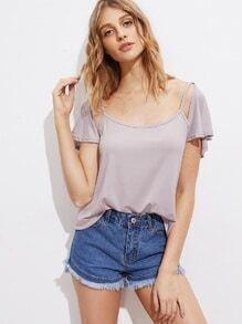 Cut Out Shoulder Open Back Tee