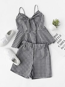 Knot Front Checked Smock Cami Top With Shorts
