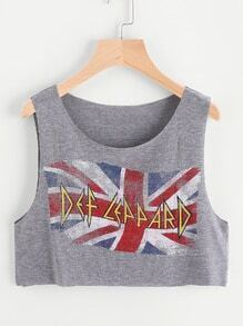Graffiti Print Crop Tank Top