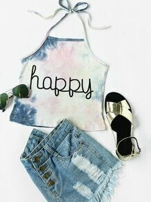 Halter Neck Water Color Letter Print Top