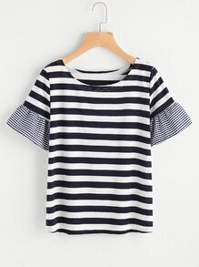 Contrast Gingham Sleeve Striped Tee
