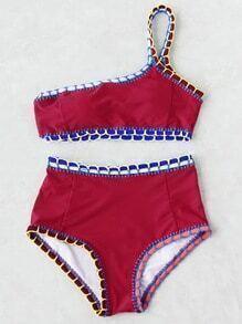 Ein-Schulter Bikini Set mit Häkelbesatz und hoher Taille