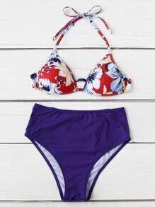Bikini Set mit geblümtem Muster und hoher Taille