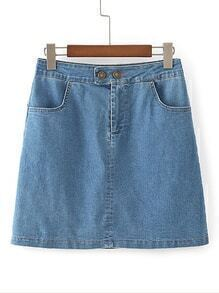 Bodycon Denim Skirt With Pockets