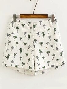 Palm Tree Print Bermuda Shorts