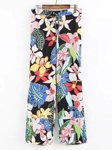 Drawstring Waist Floral Wide Leg Pants