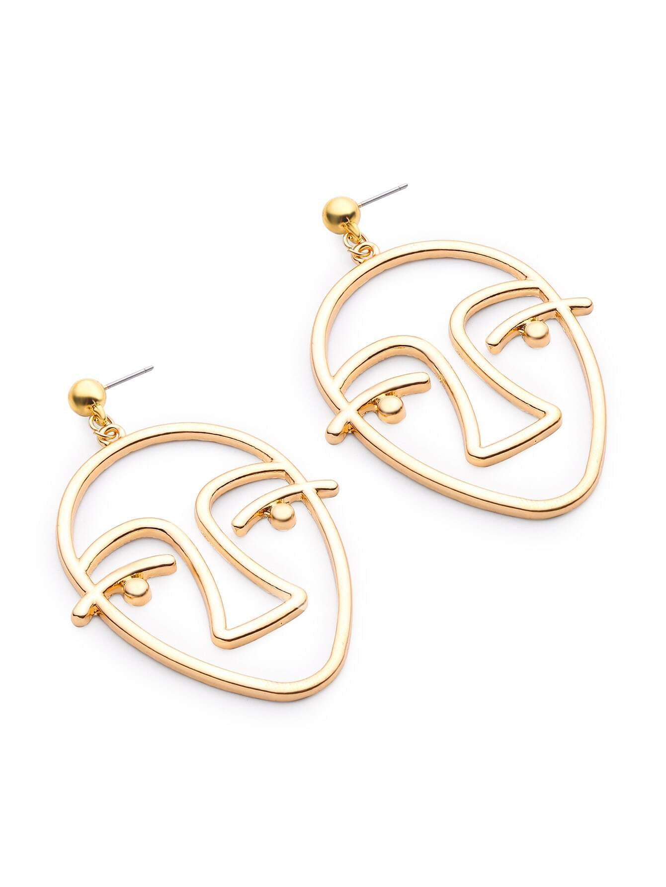 alloy urthn earrings glamour face earring gold hoop adn round