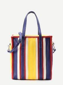 Color Block PU Tote Bag With Convertible Strap