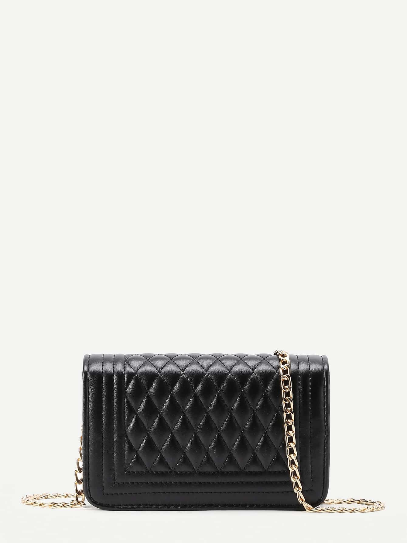 Quilted Flap Crossbody Bag With Chainfor Women Romwe