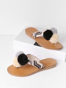 Pom Pom Decorated Toe Post Flat Slides