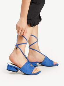 Grommet Detail Lace Up Block Heeled Sandals