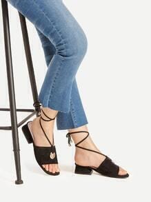 Grommet Detail Lace Up Block Heeled Sandals