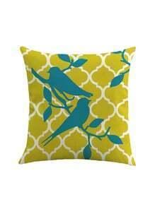 Contrast Bird Print Pillowcase Cover