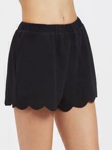Elastic Waist Scallop Hem Textured Shorts