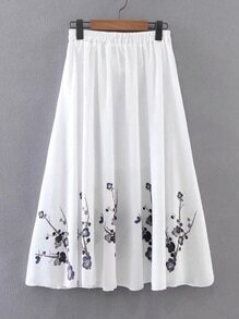 Elastic Waist Floral Pleated Skirt