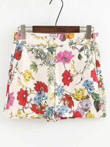 Zipper Side Floral Print Shorts