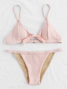 Knot Front Thin Strap Textured Bikini Set
