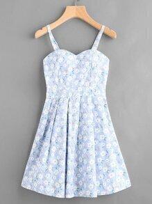 Calico Print Random Box Pleat Cami Dress