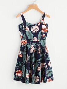 Floral Leaf Print Random A Line Cami Dress