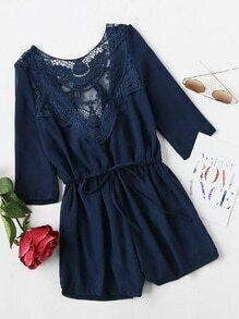 Lace Panel Tie V Back Drawstring Waist Romper
