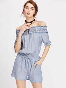 Off Shoulder Drawstring Waist Romper