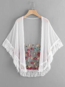 Floral Embroidered Tassel Hem Sheer Mesh Kimono