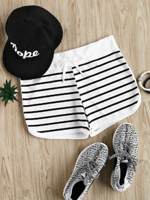 Striped Drawstring Waist Shorts