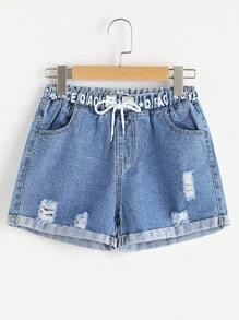 Letter Print Distress Drawstring Cuffed Denim Shorts