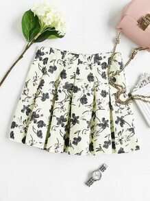 Floral Print Random Box Pleat Skirt