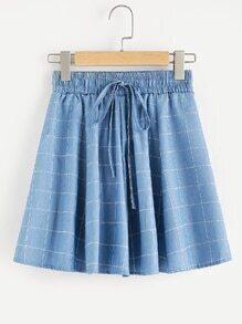 Gingham Print Drawstring Waist Skirt