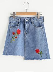 Floral Embroidered Raw Hem Denim Skirt