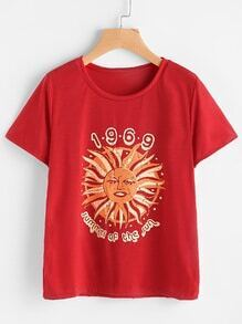 T-Shirt mit Grafik Sonne Muster