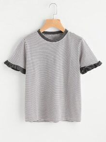 Striped Frill Cuff Ringer Tee