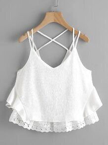 Lace Hem Criss Cross Back Pleated Cami Top