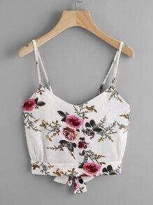Floral Print Random Split Tie Back Cami Top
