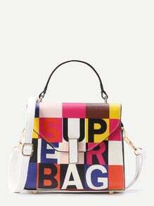 Patchwork PU Grab Tote Bag
