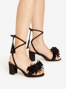 Fringe Decorated Lace Up Block Heeled Sandals
