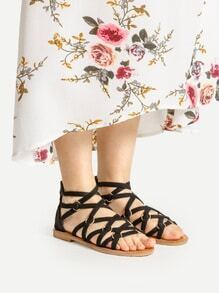 Criss Cross Zipper Back Flat Sandals