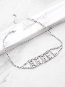 Letter Design Necklace With Rhinestone