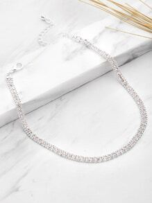 Rhinestone And Beaded Detail Layered Choker