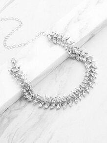 Leaf Shaped Chain Necklace With Rhinestone